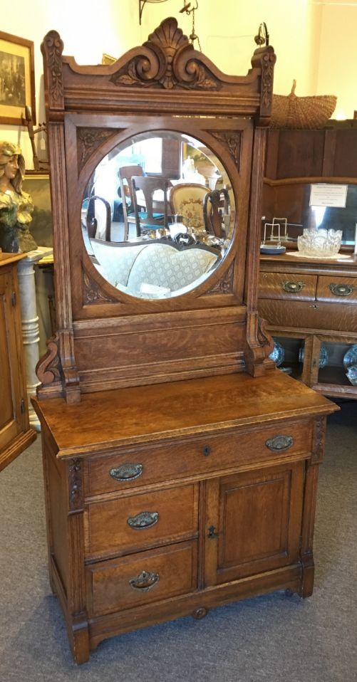 Oak Wash Stand With Round Mirror